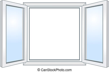 vid, fönster, öppna