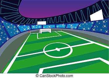 vid, fotboll, synvinkel, perspektiv, stadion