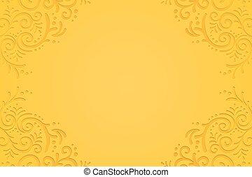 vid, graba relieve, fondo amarillo