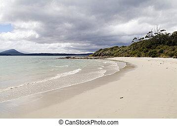 vid, lysande, strand, vågskvalp, vågor