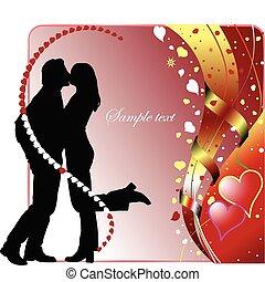 vid, valentine dag, card, hils