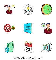 vida, ícones escritório, jogo, estilo, caricatura