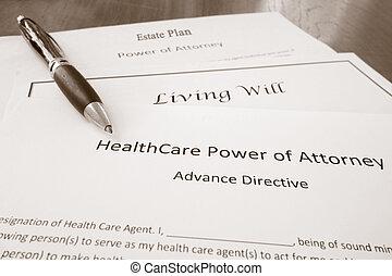 vida, abogado, voluntad, plan, propiedad, potencia