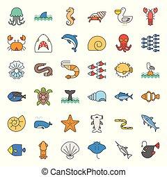 vida acuática, tal, océano, manada, pez, llenado, cáscara, pulpo, contorno, pelícano, icono, conjunto