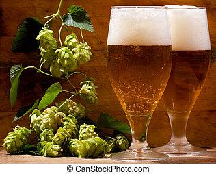 vida, ainda, óculos cerveja