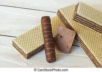 vida, ainda, bolachas, doce, chocolate