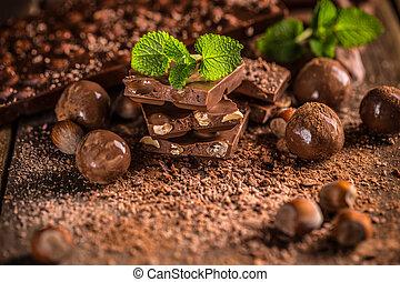 vida, ainda, pedaços chocolate