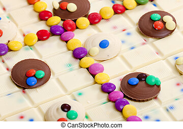 vida, ainda, smarties, chocolate branco