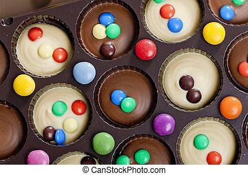 vida, ainda, smarties, chocolate