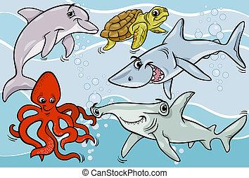 vida, animais, peixe, mar, caricatura