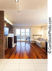 vida, apartamento, -, espacioso, habitación