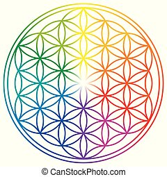 vida, arco irirs, flor, colores