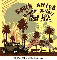 vida, arte, león, vector, equipo, salvaje