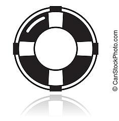 vida, ayuda, -, cinturón negro, icono