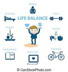 vida, balance, para, bienestar, concepto, ilustración