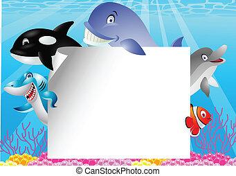 vida, blanco, caricatura, mar, señal