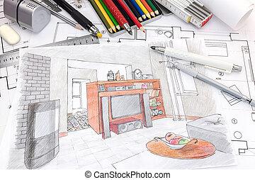 vida, bosquejo, coloreado, diseñadores, herramientas, dibujo, habitación