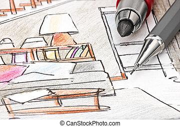 vida, bosquejo, coloreado, macro, bosquejo, interioristas, herramientas, dibujo, habitación