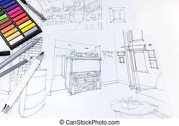 vida, bosquejo, habitación, escritorio, interior, freehand, diseñadores, herramientas, dibujo