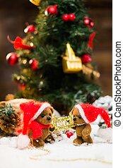 vida, brinquedo, feliz, ursos, feriados, sinal, segurando, ...