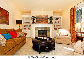 vida, cómodo, amueblado, sofá, chimenea, habitación