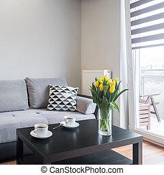 vida, cómodo, habitación, sofá
