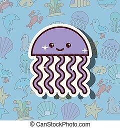vida, caricatura, mar, medusa