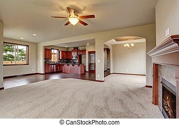 vida, carpet., encantador, habitación, sin amueblar