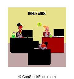 vida, cartaz, escritório negócio, jovem, pretas, branca, bandeira, mulheres