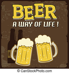 vida, cartel, cerveza, manera, vendimia
