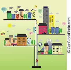 vida cidade, ilustração