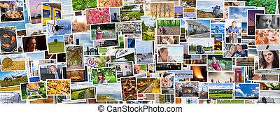 vida, collage, medios, exacto, personas, social, imágenes, ...