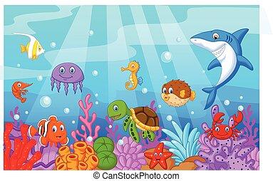 vida, collecti, pez, mar, caricatura