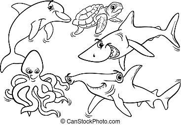 vida, coloração, animais, peixe, mar, página
