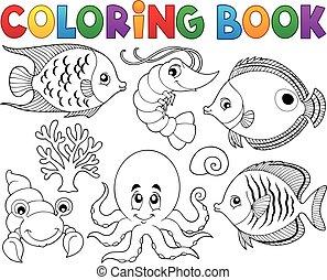 vida, coloração, marinho, livro