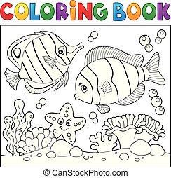 vida, coloração, tema, livro, 4, mar