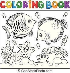 vida, coloração, tema, livro, 5, mar