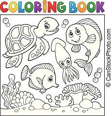 vida, colorido, 1, tema, libro, mar