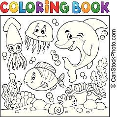 vida, colorido, 7, tema, libro, mar