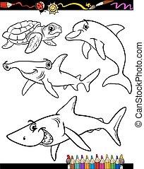 vida, colorido, animales, libro, mar, caricatura