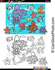 vida, colorido, grupo, página, mar