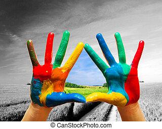 vida, colorido, pintado, actuación, manera, manos, feliz