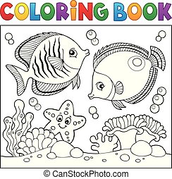 vida, colorido, tema, libro, 5, mar