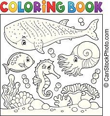 vida, colorido, tema, libro, mar, 2