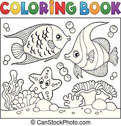 vida, colorido, tema, libro, mar, 6