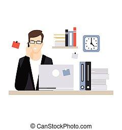 vida, computador, escritório, sentando, laptop, personagem, jovem, ilustração, falando, vetorial, diariamente, telefone, escrivaninha, empregado, homem negócios