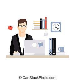 vida, computador, escritório, sentando, laptop, trabalhando, personagem, jovem, ilustração, vetorial, diariamente, escrivaninha, empregado, homem negócios