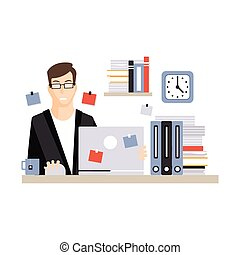 vida, computador, trabalhando escritório, sentando, laptop, personagem, jovem, ilustração, vetorial, diariamente, chá, escrivaninha, empregado, homem negócios, bebendo