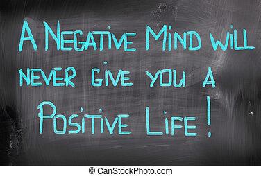 vida, conceito, dar, positivo, nunca, mente, negativo,...