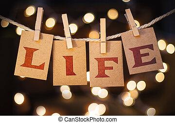vida, conceito, grampeado, cartões, e, luzes